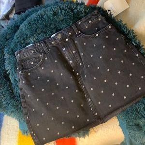 Current Elliot Black denim polka dot skirt